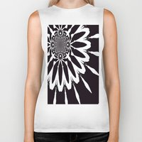 blankets Biker Tanks featuring Black & White Modern Flower by 2sweet4words Designs