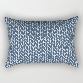 Hand Knit Navy Rectangular Pillow