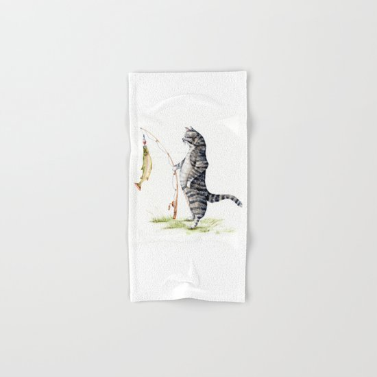Cat with a Fish Hand & Bath Towel