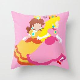 Princess Peach & Princess Daisy (Toadstool Theme) Throw Pillow