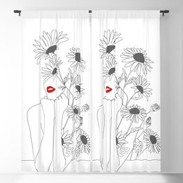 Minimal Line Art Girl with Sunflowers Blackout Curtain