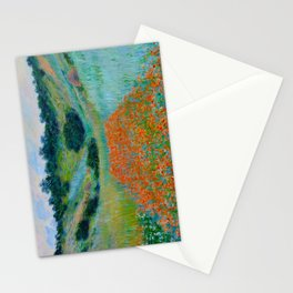 Claude Monet Impressionist Landscape Oil Painting Poppy Field in a Hollow near Giverny Stationery Cards
