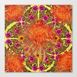 Colorful Decorative Orange Spider Mums Purple Floral Canvas Print