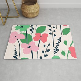 Contemporary Chic Pink Flower Pattern With Trendy Leaves Rug