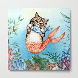 Cute Purrmaid Cat Mermaid Metal Print