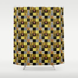 Jungle Friends Mustard & Black Cheater Quilt Hand-Painted Jungle Animals Shower Curtain