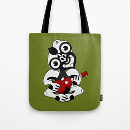 Black and Grey Hei Tiki playing a Ukulele Tote Bag