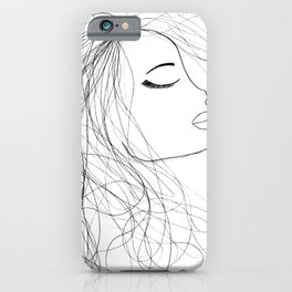 Sketch of a Girl. From my Coloring Book by Jodi Tomer. Curly Hair, Beautiful Girl iPhone Case