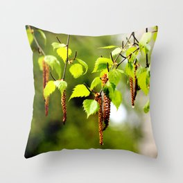 The birch leaves and catkins Throw Pillow