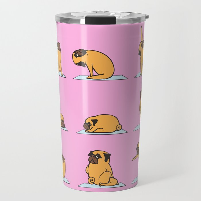 Pug Yoga // Pink Travel Mug