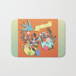Tea Time With Flowers Bath Mat