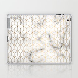 Gold Geometric Pattern on Marble Texture Laptop & iPad Skin