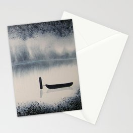 Boat on Ice 2 Watercolor Painting Stationery Cards
