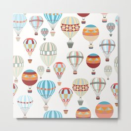 Adventure illustration pattern with air balloons in vintage hipster style Metal Print
