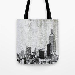 New York City Skyline Gray Texture Tote Bag
