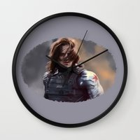the winter soldier Wall Clocks featuring Winter Soldier by LindaMarieAnson