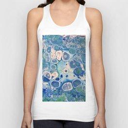Blue Green Cells Fluid Pour Art Marble Swirls Stone Unisex Tank Top