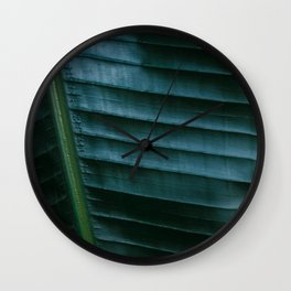 Botanical photography print | Dark green tropical leaf of a palm | Jungle Wanderlust art Wall Clock