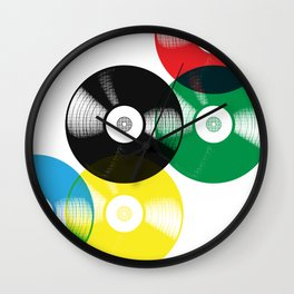 Olympic Rings Vinyl Record Set Wall Clock