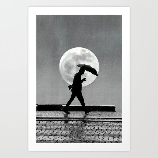 The man and the moon Art Print