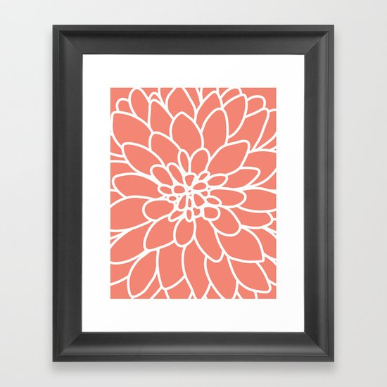 Coral Modern Dahlia Flower Framed Art Print by AleDan ...