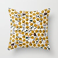 halloween Throw Pillows featuring halloween by mark ashkenazi