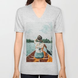 Row Your Own Boat #illustration #decor #painting Unisex V-Neck