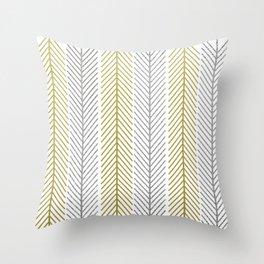Chevron Arrows Gold Silver Throw Pillow