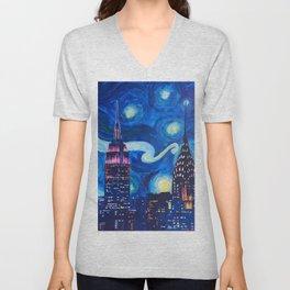 Starry Night in New York - Van Gogh Inspirations in Manhattan Unisex V-Neck