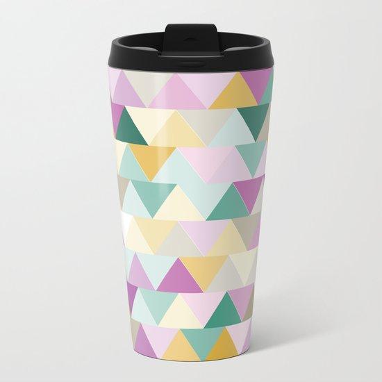 Triangles Colorful Pattern Metal Travel Mug