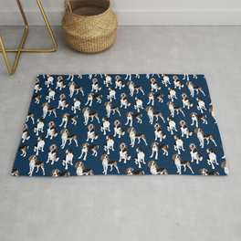 Treeing Walker Coonhounds on Navy Rug