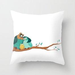 Owls family Throw Pillow