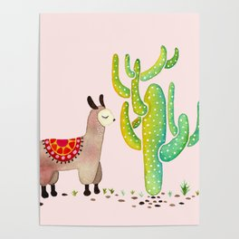 Cute alpacas with pink background Poster