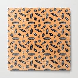 Many Autumn Plant Seeds Pattern in Orange Metal Print