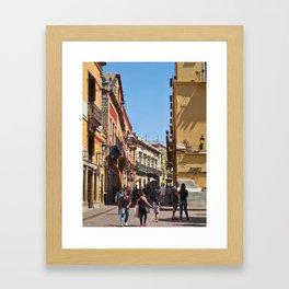 Calle de Sopeña in front of Teatro Juarez Framed Art Print