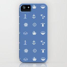 Nautical Symbols Blue Background iPhone Case
