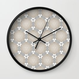 Grey Taupe Hexagon Star Pattern Wall Clock