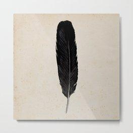 Raven Feather Metal Print