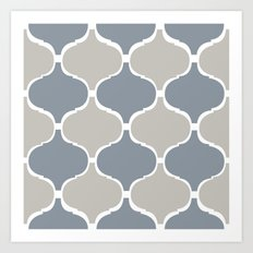 MARRAKECH PATTERN GreyBlue Art Print