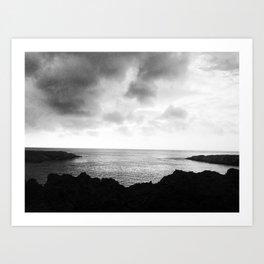 Moody B&W Photo of Shark's Cove on Oahu, HI Art Print