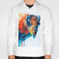 bison Hoodies featuring Bison by Slaveika Aladjova