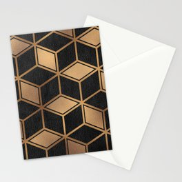 Charcoal and Gold - Geometric Textured Cube Design II Stationery Cards