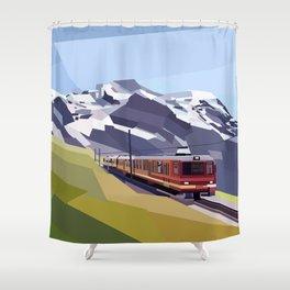 Geometric Jungfraujoch railway, Bernese Alps, Switzerland Shower Curtain