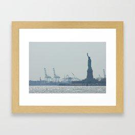 Statue of Liberty from Manhattan Framed Art Print