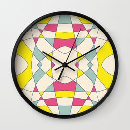 Pink Blue Yellow Abstract Curch Window Wall Clock