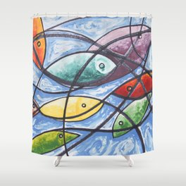 Fishes in the net Shower Curtain