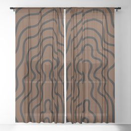 Music Line Vibes Brown Sheer Curtain