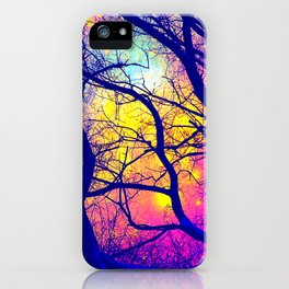 Black Trees Deep Bright & Colorful Space iPhone Case