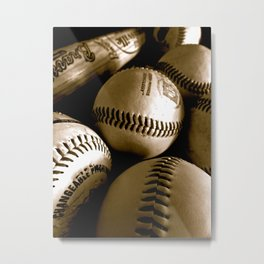Baseball Days in B&W Metal Print