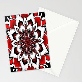 Mandala : Red Flower Mandala Stationery Cards